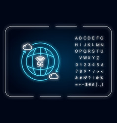 5g wireless technology neon light icon global vector