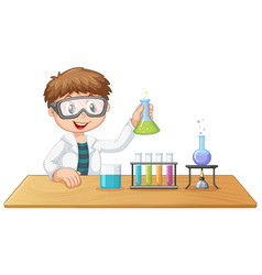 a boy in chemistry class vector image