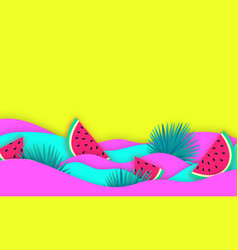 Abstract wavy summer paper cut background with vector