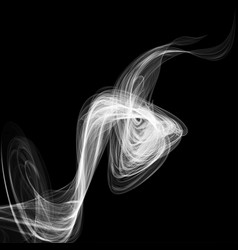 abstract white smoke isolated on black background vector image