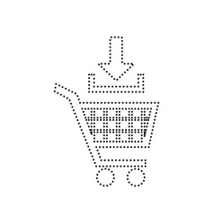 add to shopping cart sign black dotted vector image