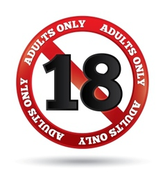Adults only content sign age limit icon vector
