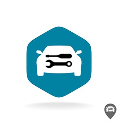 Auto repair logo Car silhouette with wrench and vector image