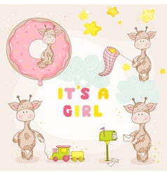 Baby girl giraffe set - shower card vector