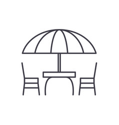 beach table and chairs line icon concept beach vector image