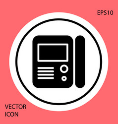 Black house intercom system icon isolated on red vector