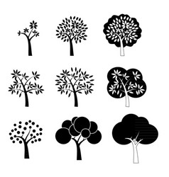 Black tree icons vector