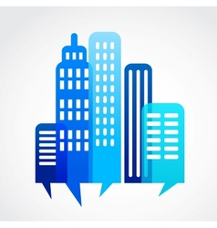 blue abstract cityscape with speak bubble vector image