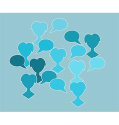 blue silhouette speak bubble vector image