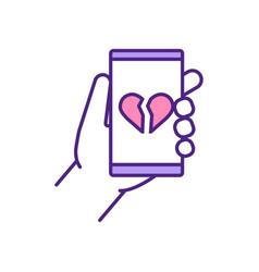 Broken heart on mobile screen rgb color icon vector