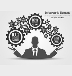 businessman infographic gear vector image