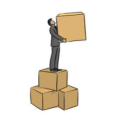 businessman standing on the box with one on his vector image