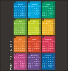 calendar 2016 week starts monday vector image