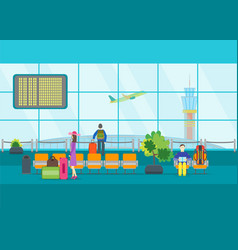 Cartoon airport waiting vector