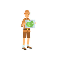 cartoon archaeologist character studying the map vector image