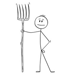 Cartoon man or farmer or gardener holding fork vector