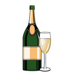 Champagne bottle and cup pop art vector