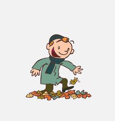 Child having fun treading autumn leaves vector