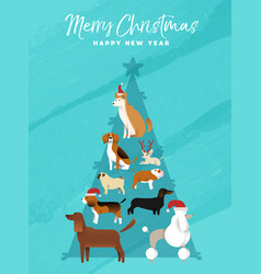 Christmas and new year pine tree dog greeting card vector