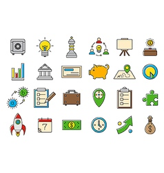 Colorful business strategy icons set vector image