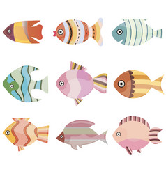 colorful fish set sea or vector image