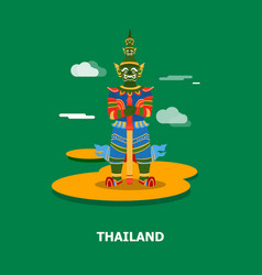 Colorful giant statue in thailand design vector