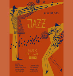 Colorful jazz poster with trumpet and trombone vector