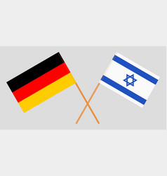Crossed flags israel and germany vector