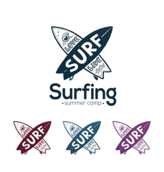 Crossing surfboards surfing logo templates vector image