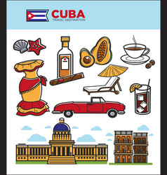 Cuba travel landmarks symbols and tourist vector