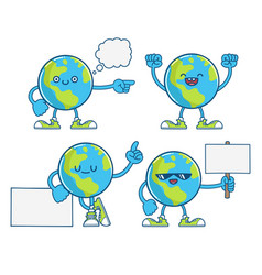 cute happy globe planet earth cartoons vector image
