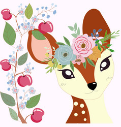 Cute little deer in apple branch frame vector