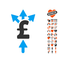 Divide pound payment icon with love bonus vector