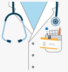 Doctor white coat with stethoscope vector