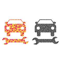 Dotted car repair mosaic icons vector