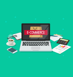 ecommerce concept working table desk vector image