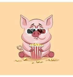 Emoji character cartoon Pig chewing popcorn vector