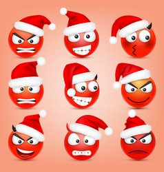 emoticon set red face with emotions and vector image