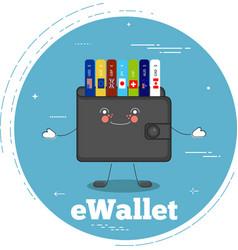 Ewallet concept in line art style vector