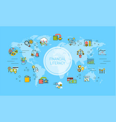 Financial literacy world map background saving vector