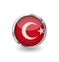 Flag of turkey button with metal frame and shadow vector