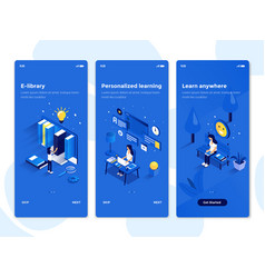 flat design oneboarding concepts - isometric 5 vector image