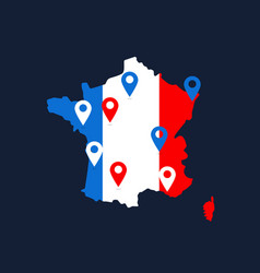 france map with colored geolocation point vector image