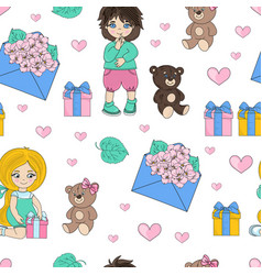 gift party valentines seamless pattern vector image