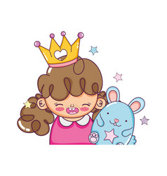 Girl with corwn and cute mouse kawaii vector