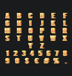 gold numbers letters 3d alphabet golden metal vector image