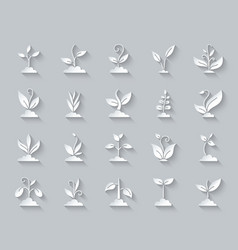 Grass simple paper cut icons set vector