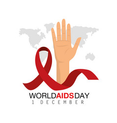 Hadn and ribbon to world aids day vector