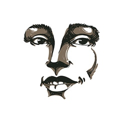 Hand-drawn portrait of white-skin flirting woman vector image