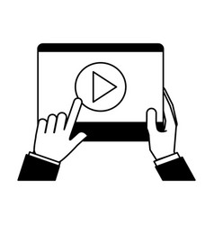 hands holding tablet video player vector image